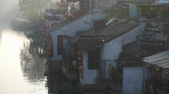 Traditional Chinese houses in XiTang Water Town,at dusk,shanghai,China. Stock Footage