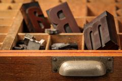 Letter case with old wood types Stock Photos