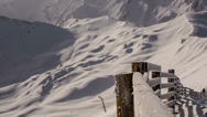 Stock Video Footage of Snow covered fence mountaintop Tirol Austria time lapse HD