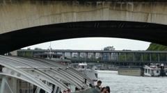 Cruise boat on the beautiful River Seine, Paris (PARIS BOAT TOURS--5b) Stock Footage