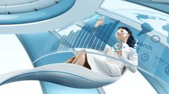 Future lifestyle. sexy brunette sits in the futurisctic armchair. Stock Illustration