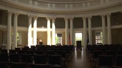 Int. rotunda main room lit from skylight Stock Footage