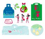 Stock Illustration of christmas design elements with santa claus - set