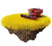 agriculture: harvesting grain field on the little magic planet. - stock illustration