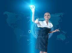 Attractive blonde touching the button in virtual future interface Stock Illustration