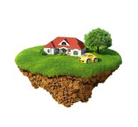 life of a dream. lawn with house, river, waterfall, tree - stock illustration