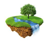 Idyllic natural landscape. lawn with river, waterfall and one tree. Stock Illustration