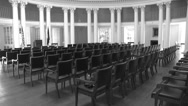 Stock Video Footage of int. rotunda main room B&W