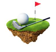 Golf club, ball, flagstick and hole based on little planet. Stock Illustration