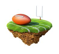 American football field, goal and ball based on little planet. Stock Illustration