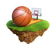 Basketball ball, backboard, hoop and court based on little planet. Stock Illustration