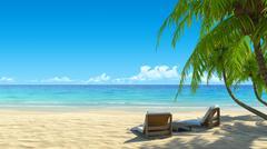 two stylish beach chairs on idyllic tropical white sand beach. - stock illustration