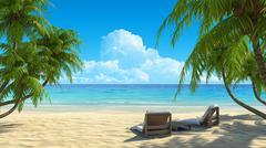 two beach chairs on idyllic tropical white sand beach. - stock illustration
