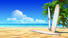 Stock Illustration of three surf boards on idyllic tropical sand beach. no noise, clean, extremely