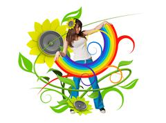 Rainbow in her arms (attractive young people fresh music floral series) Stock Illustration