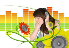 Happy young music fan (attractive young people fresh music floral series) Stock Illustration
