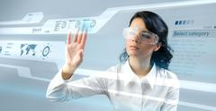 Stock Illustration of lady press touch interface in virtual space.