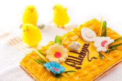Dummy yellow chickies and decorative Easter cake Stock Photos