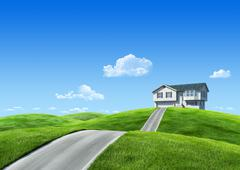 Nature collection - house on green meadow Stock Illustration