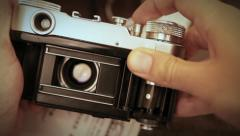 Old film reporteurs shutter mechanism work Stock Footage