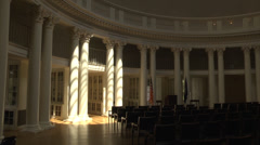Int. rotunda main room dramatic light from skylight Stock Footage