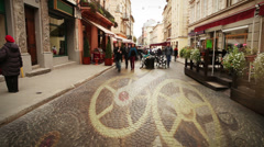 European city street with people time lapse and clock mechanism concept moving Stock Footage