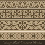 Vintage border seamless elements collection. vector abstract floral ornament. Stock Illustration