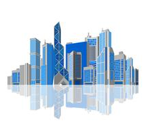 Cityscape. skyscraper city with reflection on white background. isolated. Stock Illustration