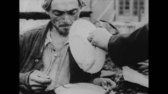 WW2 - German Concentration  Camp - Hannover - Survivors 03 - Eating Stock Footage