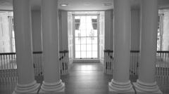 Int. rotunda columns WS B&W Stock Footage