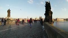 Charles Bridge in Prague Crowd Slow Mo Stock Footage