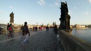 Stock Video Footage of Charles Bridge in Prague Crowd Slow Mo