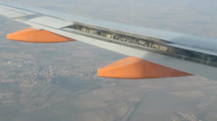 Close up of  flaps, airplane wings detail Stock Footage