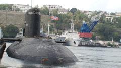 Submarine returns to base Stock Footage