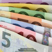 All current euro notes one after another Stock Photos