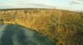 winter lake in village. Aerial Footage