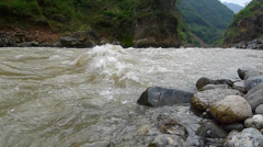 Flowing river in the border of Sichuan and Yunnan province, China Stock Footage