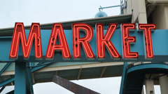 Market sign. Stock Footage