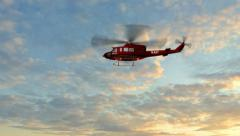 Helicopter Bell UH1 Huey - Air Rescue fly by Stock Footage