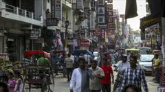 New Delhi Pahar Ganj market time lapse Stock Footage