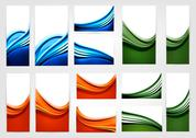 Stock Illustration of big collection of colorful business cards. vector illustration.