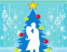 Couple kissing by a christmas tree Stock Illustration