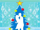 Stock Illustration of couple kissing by a christmas tree