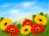 Stock Illustration of nature background with colorful beautiful flowers and blue sky. vector illust