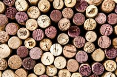 Detail of wine corks in color vintage style Stock Photos