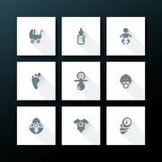 vector flat baby icon set - stock illustration