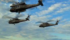 Black Hawk Helicopter fly over in Formation Stock Footage