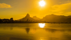 Lagoa Rodrigo de Freitas at nightfall Stock Footage