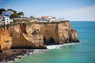 Stock Photo of seaside village on a cliff overlooking the ocean in portugal