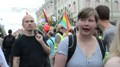 Gay and lesbians walk in the Gay Pride Parade in Vilnius Stock Footage